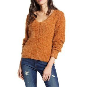 BP. Camel Brown Long Sleeve V-Neck Fuzzy sweater